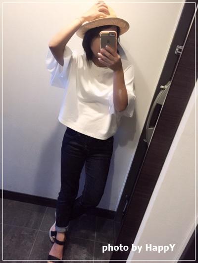 夏の白いTシャツは着回し抜群!すごい頻度で着ています♪