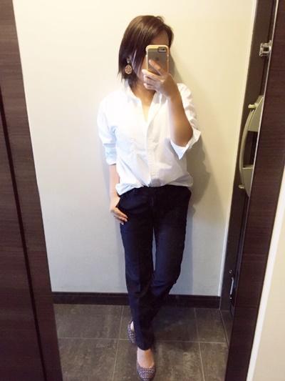 小柄でもピッタリ綺麗に着れる!紺のセンタープレスパンツ【ニッセンプッチージョ】
