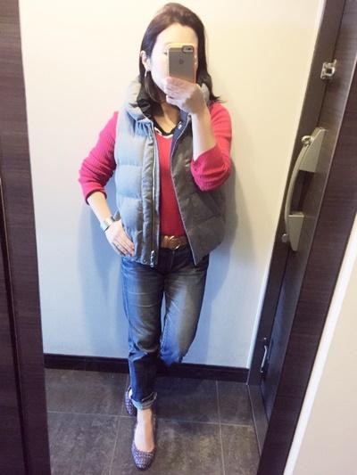 赤のスプリングニットが着やすくてお気に入り♪30代でも赤は挑戦できる!