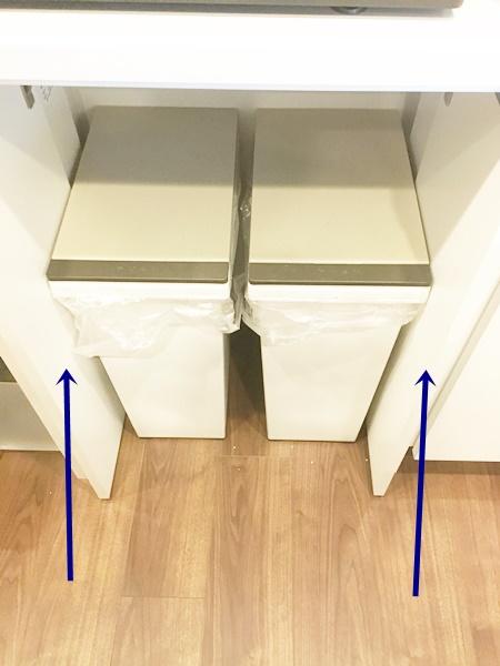 ゴミ箱が収納できる食器棚 事例