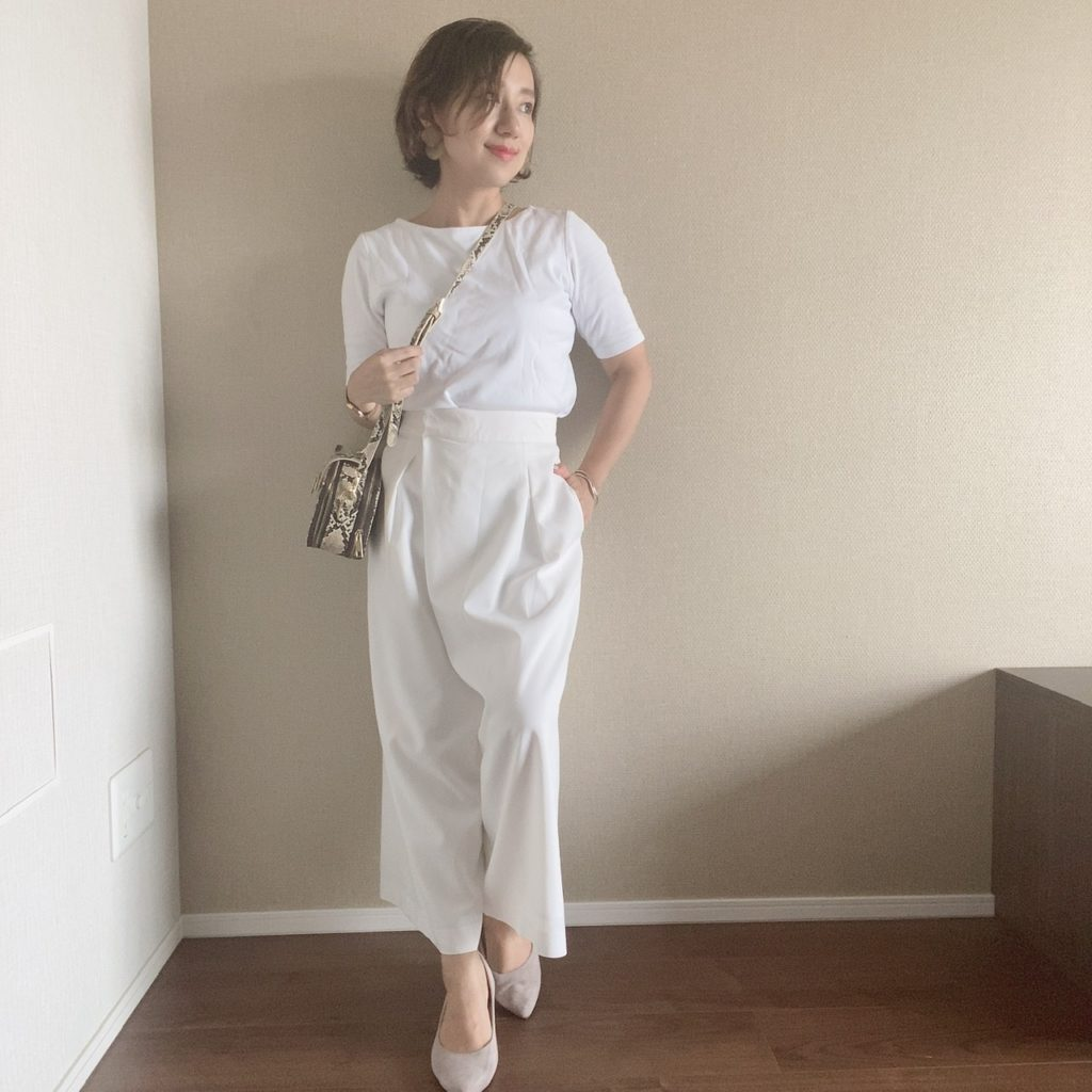 低身長 ワイドパンツの穿き方
